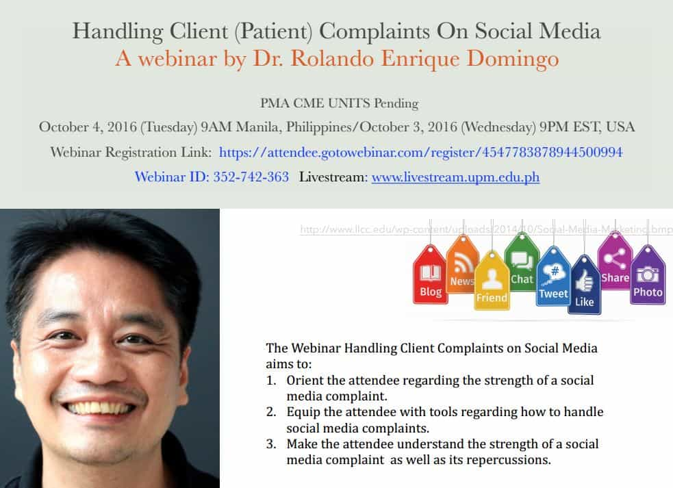 Dr Domingo patient complaint social media webinar