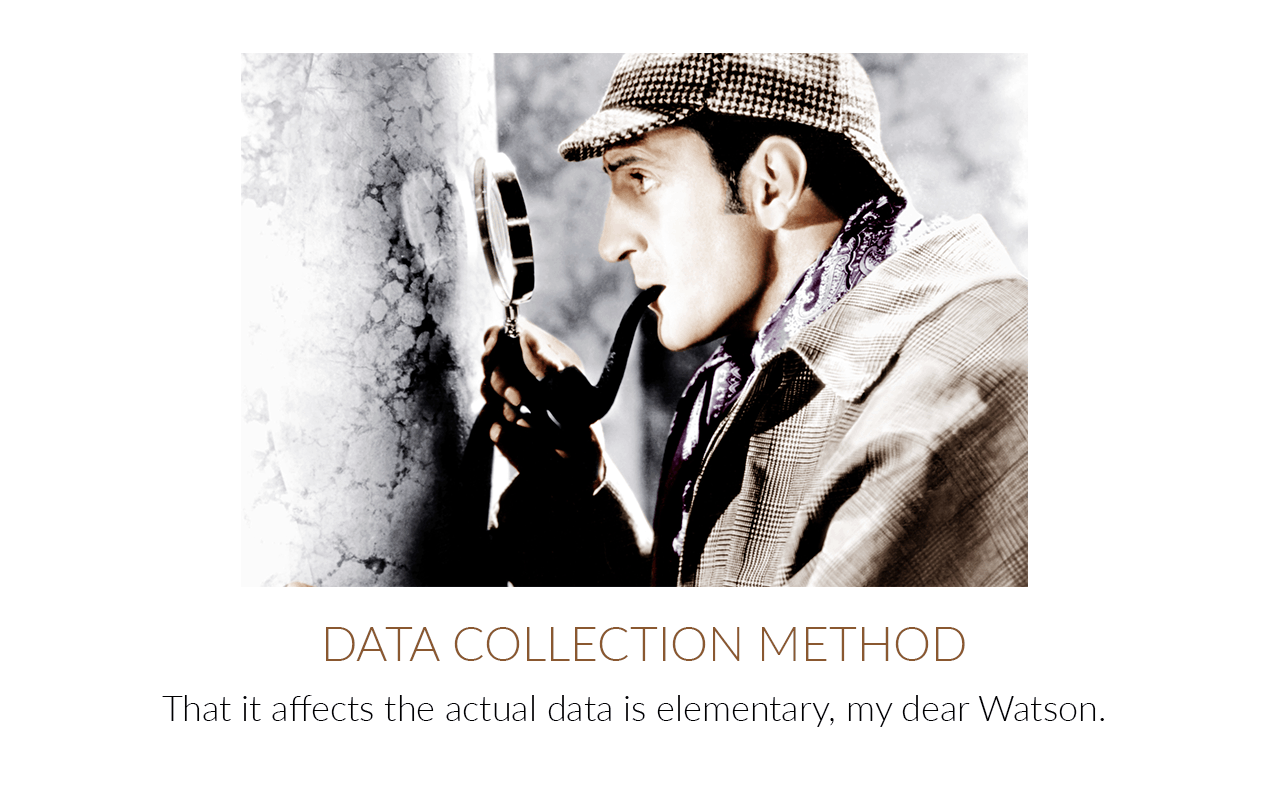 Sherlock Holmes inspecting clue data collection