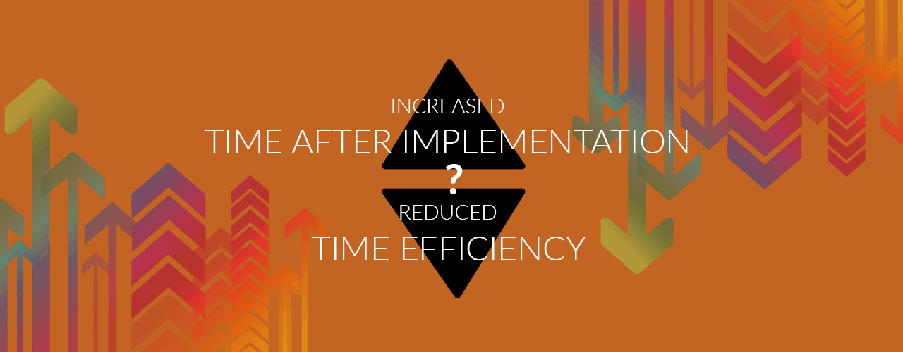 time after implementation and time efficiency