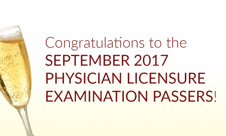 september 2017 physician exam passers