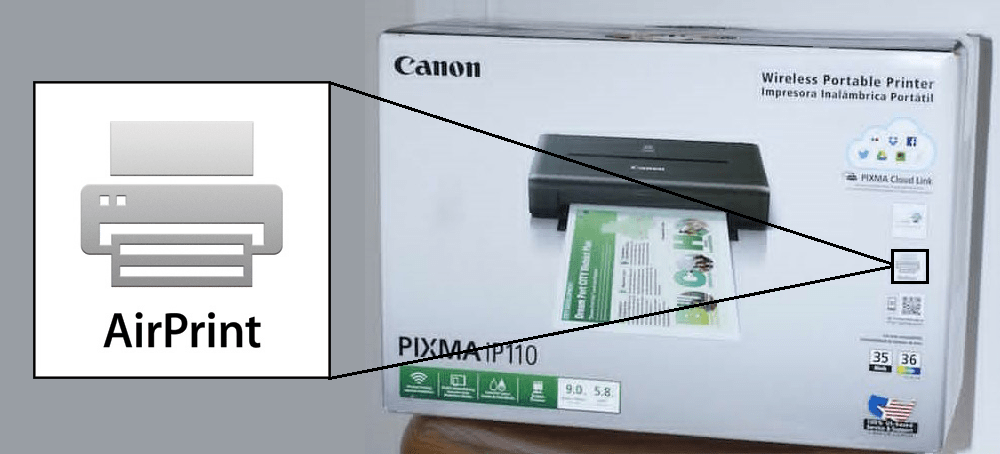 Airprint capable printer box Canon Pixma