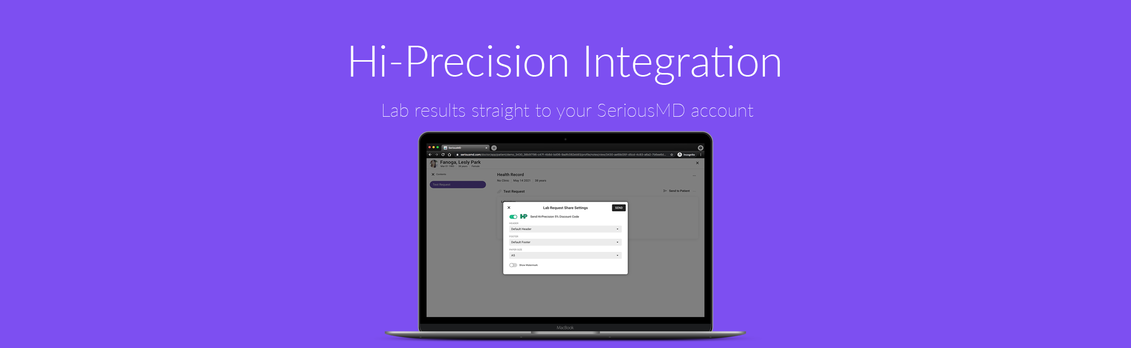SeriousMD HiPrecision NowServing Integration